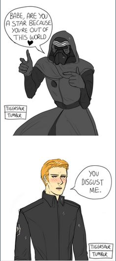 "Star Wars || Hux/Ren. ""You disgust me"" hee hee hee."