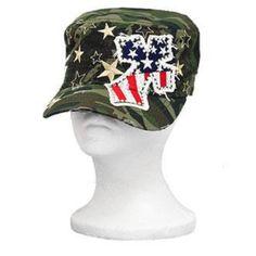 KBETHOS Camouflage Stars and Stripes Rhinestone Cross Cadet Hat : Trendy Hats