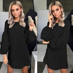 0afb9052c7 People also love these ideas. 2018 Fashion Women s Long Sleeve Loose Mini  Dress ...