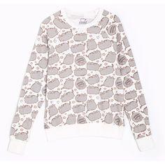 Pusheen the Cat print ladies sweatshirt ($36) ❤ liked on Polyvore featuring tops, hoodies, sweatshirts, cat sweatshirt, white top, cat print top, white sweatshirt and cat top