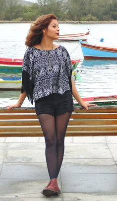 LOOK DO DIA: Top poncho +Ankle boot !!