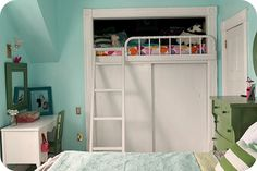 A loft bed above the closet. I would've loved this as a kid!!! had the perfect closet for it.