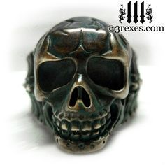 "3 Rexes Jewelry - Brass Skull Biker Ring ""BONES"" - I was heavily inspired by Victorian Gothic jewelry and the skulls that were used on everyday objects like pipes, purses, pill cases, canes and Masonic jewelry (http://www.3rexes.com/brass-skull-biker-ring-bones/) #skull"