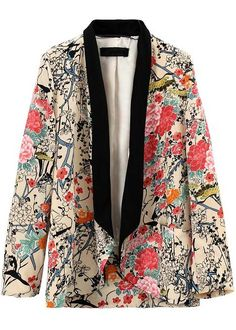 Apricot Contrast Collar Long Sleeve Floral Blazers - Sheinside.com