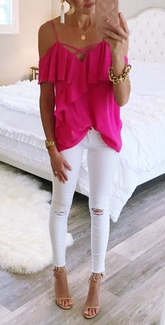 summer outfits  Hot Pink, Ruffles And Off The Shoulder... Yes Please! Obsessed With This Cute Top. It Also Comes In Blue And It Is Under $50.
