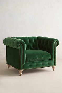 If only life could be seen in this shade of green...bliss Lyre Chesterfield Armchair #anthropologie