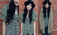 floral blouse and chunky cardi