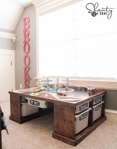 DIY Train or Lego Table: Build  the perfect train (or lego) table to satisfy your kids love and obsession! Thanks to @shanty2chic and these plans you can make this one yourself!  http://www.rustoleum.com/product-catalog/consumer-brands/varathane/varathane-fast-dry-wood-stain/