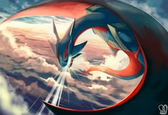 clouds dragon mega_salamence pokemon sa-dui salamence sky watermark