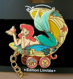 DLRP Train Series Ariel & Sebastian. Ariel and Sebastian are riding in clam shell car. Disney Pin # 26900. This pin is limited edition of only 900 and very hard to find. This pin is individually numbered 302 / 900. | eBay!