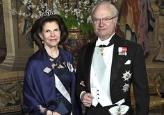 King Gustaf and Queen Silvia of Sweden hosted the first official dinner of the year at the Royal Palace of Stockholm.