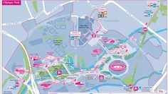 A map of London's Olympic Park, site of the 2012 Olympic Games.