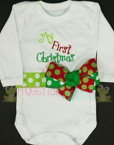 My First CHRISTMAS Baby Girls Bodysuit Onesie by FroggytaleDesigns, $28.00