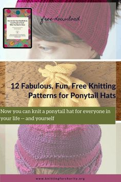 Now you can knit a ponytail hat for everyone in your life — and yourself ... Read More about  12 Fabulous, Fun, Free Knitting Patterns for Ponytail Hats - Knitting for Charity Knitting Patterns Free, Free Knitting, Ponytail Hat Knitting Pattern, Funky Hats, Knitted Hats, Crochet Hats, Cute Ponytails, Knitting For Charity, Knitting Magazine