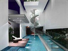 piscina interna, indoor swimming pool, piscinas dentro de casa, piscina coberta, casa com piscina
