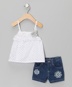 Take a look at this White Tank & Denim Shorts - Infant by Young Hearts on #zulily today!