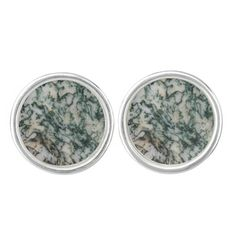 Green Tree Agate Cufflinks - sterling silver plated #rocks #minerals #geology #mens