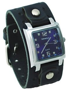 Nemesis #BB516L Men's Square Purple Dial Wide Leather Cuff Band Watch Nemesis. $38.97. Stainless Steel Case, Genuine Wide Leather Strap. Mineral Crystal, Silver Tone Hands and Markers. Precise Japan Quartz Movement. Case Size:  35.5mm Diameter, 11mm Thickness, Band Width:  39mm. Water Resistant - 10M. Save 22%!