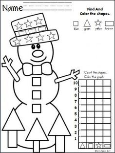 Snowman Shapes - Color, Count, Graph - for the winter months