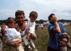 """1995: Srebrenica Massacre - Our team witness the fall of the UN """"protected zone"""", and denounce the subsequent massacre of up to 10,000 civilians by Serbian troops. / War in Chechnya - MSF bring aid to civilians inside the republic and in refugee camps in neighbouring countries.  © Olivier Jobard/Sipa Press"""