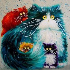 Cat DIY Oil Painting Numbers Abstract Acrylic Paint Animal Color Cats Decorative Canvas Painting Coloring By Number Drawing Art Fantaisiste, Cat Colors, Bright Colors, 5d Diamond Painting, Cross Paintings, Cat Paintings, Resin Paintings, Cat Drawing, Whimsical Art
