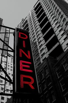 The rest of the colors are muted out to highlight the Color of the diner sign.