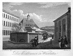 Goethe heeft ook de Brunnen in Wiesbaden bezocht; hier een afbeelding uit 1830