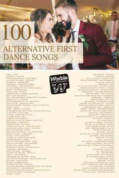 100 Alternative First Dance Songs For Your Wedding: The Complete List - - Looking for an alternative first dance song? Check out this list of 100 unusual, funny, romantic and obscure first dance songs just for your wedding. Alternative First Dance Songs, Unique First Dance Songs, First Dance Wedding Songs, First Dance Lyrics, Wedding Song List, Wedding Song Lyrics, Wedding Playlist, Wedding Music, Rock Wedding Songs