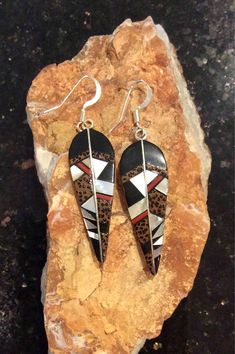 ~ Native American Sterling Silver Black Onyx, and Mother of Pearl Earrings ~ etsy.com
