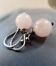 Inspiration for antique fashion doll - make miniature.  Rose quartz Sterling silver earrings