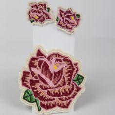 Eastern Shoshone rose pattern barrette and earrings