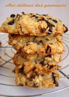 Cookies aux Corn-Flakes et pépites de chocolat - Aux délices des Gourmets Biscuit Cupcakes, Cookies Et Biscuits, Desserts With Biscuits, Cookie Desserts, Galletas Cookies, Cupcake Cookies, Cornflake Recipes, Macarons, Chocolat Cake