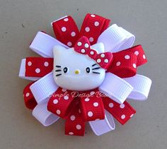 Hello Kitty Hair Bow - Small Flower Loop Bow - Red & White. $5.75, via Simple Design Bows on Etsy.