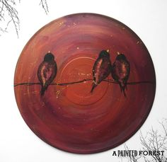 Creative Repurposed Vinyl Record Painting  Black by apaintedforest, $30.00