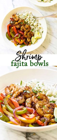 Shrimp Fajita Bowls Juicy shrimp with cilantro-lime rice and colorful peppers. These shrimp fajita bowls are just like fajitas without the tortilla. - Skip the tortillas and serve shrimp fajitas over a bed of cilantro lime rice via Fish Recipes, Seafood Recipes, Mexican Food Recipes, Vegetarian Recipes, Cooking Recipes, Healthy Recipes, Delicious Recipes, Shrimp And Rice Recipes, Recipies