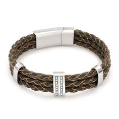 Bling Jewelry Mens 3 Row Braided Brown Leather Bracelet Stainless Steel Clasp 8in Bling Jewelry. $34.99. Stainless steel accents. Fits up to an 8in wrist. 3 row brown braided leather. Unisex jewelry. Cubic zirconia