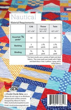 Nautical quilt pattern || Cluck Cluck Sew