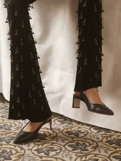 It might only be October but were already thinking about these party-ready trousers. Fashion Lookbook, Ad Fashion, Harvey Nichols, Trousers Women, Girl Outfits, Party Outfits, Designing Women, Lace Skirt, Joggers