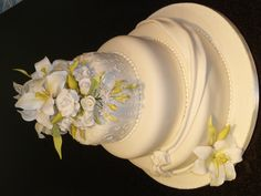 Ivory Draped Wedding Cake
