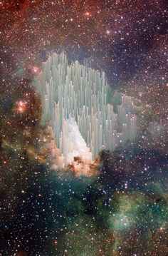 "The cosmic ""ice sculptures"" of the Carina Nebula. This picture is probably an artist's photo shopped rendering of the ice pillars because it is much more detailed than photos of the more organic, cloud-shaped ice pillars currently on Hubble's site.  Even so, it's beautiful."