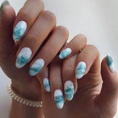 Almond Acrylic Nails, Cute Acrylic Nails, Gel Nails, Summery Nails, Simple Nails, Chic Nails, Stylish Nails, Beach Nail Designs, Nail Art Designs