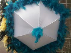 Second Line Umbrella Teal Turquoise on White by grisgrisart