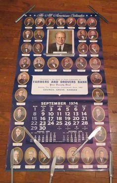 Vintage Calendar American Presidents Farmers and Drovers Bank Council Grove, Kansas 1974 Advertisement Advertising by KansasKardsStudio on Etsy
