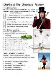 English worksheet: PART 3/4 Charlie & The Chocolate Factory - movie worksheet