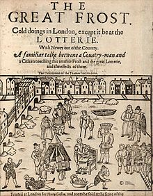 An account of the Frost Fair on the River Thames of 1608, which is believed to be the first. Between 1600 and 1814, it was not uncommon for the River Thames to freeze over for up to two months at time.