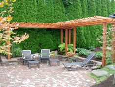 perfect backyard hangout...with partial pergola surround.