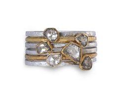 Rough Diamond Stacking Rings - Handmade Eternity Rings - Unusual Eternity Rings