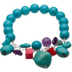 V3 Jewelry Turquoise & Sterling Silver Beaded Stretch Bracelet ($22) ❤ liked on Polyvore featuring jewelry, bracelets, beads jewellery, turquoise jewelry, sterling silver jewellery, turquoise jewellery and sterling silver bangles