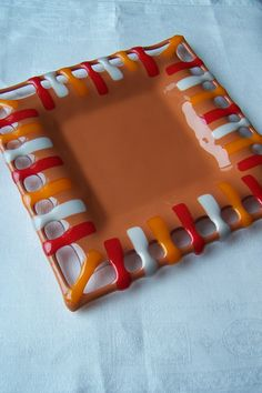 Colorful open edged fused glass plate by WildFog on Etsy, $48.00