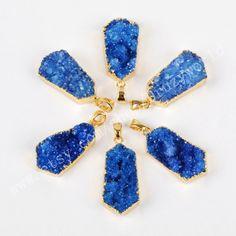 1Pcs Long Hexagon Gold Plated Edge Royal Blue Agate Druzy Charm Pendant Rough Drop Natural Geode Quartz Bead Gemstone Making Jewelry Finding by Druzyworld on Etsy